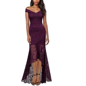 Off Shoulder Floral Lace Evening Cocktail Maxi Dre